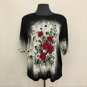 Floral Graphic Print Long Short Sleeve Knit Tee